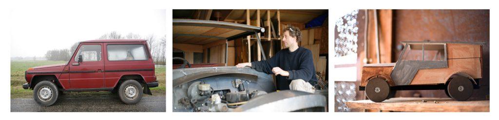Designer Alex den Braver show a model of his self designed car.